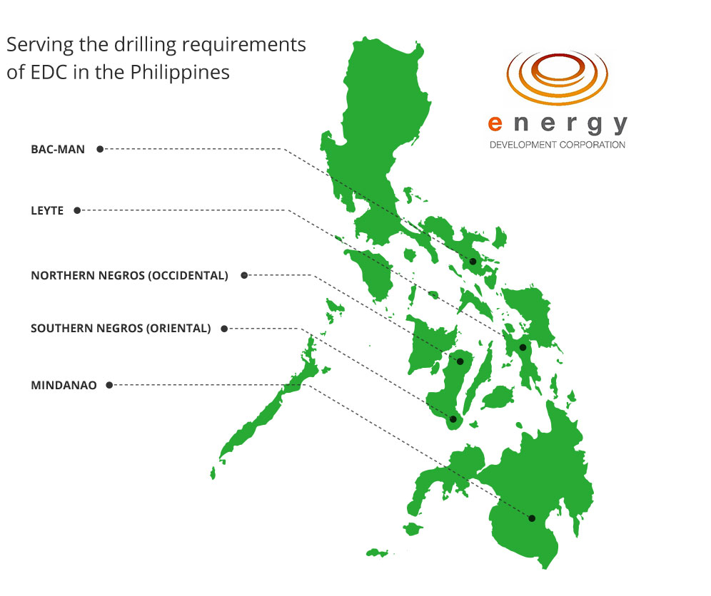 Serving the drilling requirements  of EDC in the Philippines